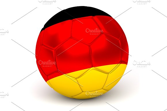 Soccer Ball With German Flag 3D Render