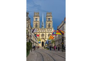View of Orleans Cathedral from Jeanne d'Arc's street - France, C