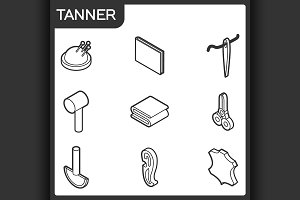 Tanner outline isometric icons