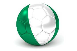 Soccer Ball With Nigerian Flag 3D Render