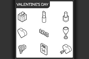 Valentines day color icons