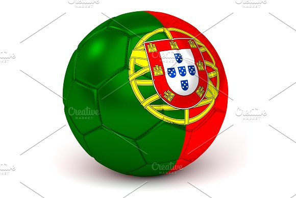 Soccer Ball With Portuguese Flag 3D Render