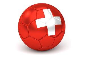 Soccer Ball With Swiss Flag 3D Render