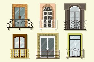 Window forms icons set balcony