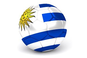 Soccer Ball With Uruguayan Flag 3D Render