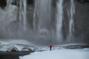 Selfie at Skogafoss waterfall in win