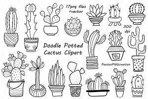 Doodle Potted Cactus Clipart
