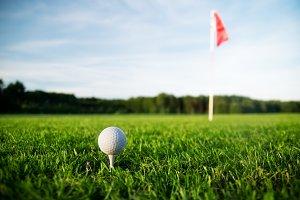 Golf field with green grass