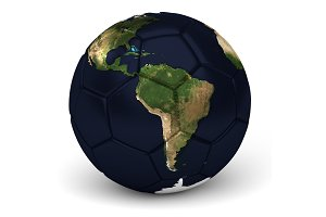 Soccer Ball With World Map 3D Render