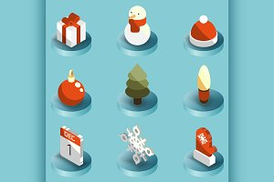 Winter color isometric icons