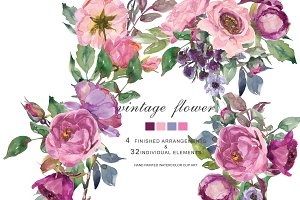Watercolor Roses & Peonies