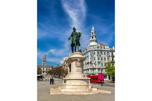 Statue of King Peter IV in Porto, Portugal