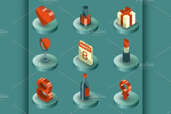 Womens Day Color Isometric Icons
