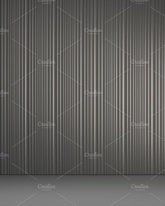 3D Render Of Vertical Panels In Interior