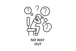no way out thin line icon, sign, symbol, illustation, linear concept, vector