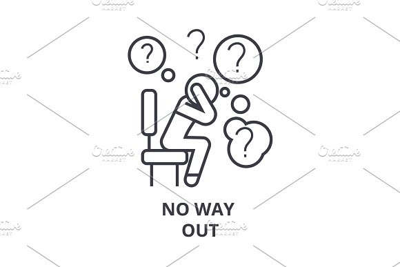No Way Out Thin Line Icon Sign Symbol Illustation Linear Concept Vector