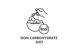 non carbohydrate diet thin line icon, sign, symbol, illustation, linear concept, vector