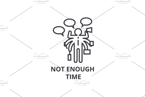 Not Enough Time Thin Line Icon Sign Symbol Illustation Linear Concept Vector