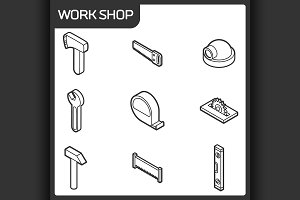 Work shop outline isometric icons