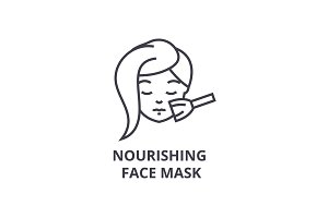nourishing face mask thin line icon, sign, symbol, illustation, linear concept, vector