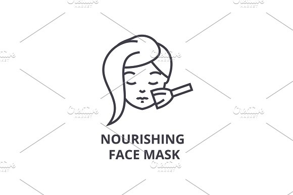 Nourishing Face Mask Thin Line Icon Sign Symbol Illustation Linear Concept Vector
