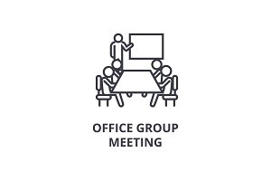 office group meeting thin line icon, sign, symbol, illustation, linear concept, vector