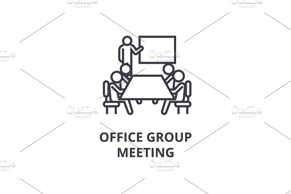 Office Group Meeting Thin Line Icon Sign Symbol Illustation Linear Concept Vector