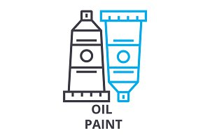 oil paint thin line icon, sign, symbol, illustation, linear concept, vector