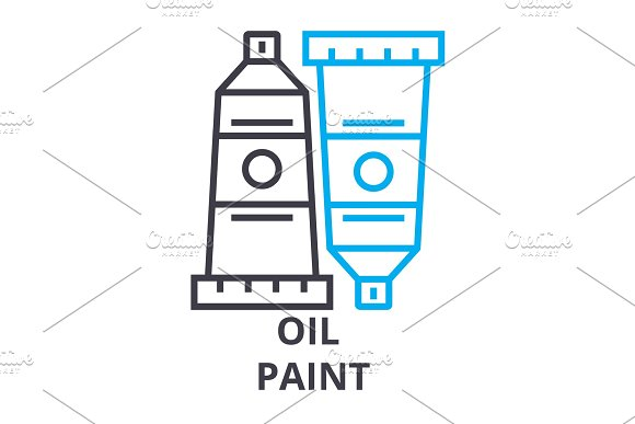 Oil Paint Thin Line Icon Sign Symbol Illustation Linear Concept Vector