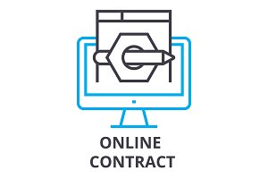online contract thin line icon, sign, symbol, illustation, linear concept, vector