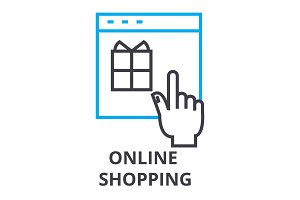 online shopping thin line icon, sign, symbol, illustation, linear concept, vector