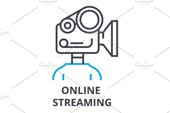 online streaming thin line icon, sign, symbol, illustation, linear concept, vector