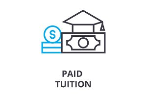 paid tuition thin line icon, sign, symbol, illustation, linear concept, vector