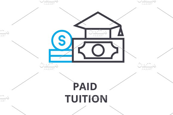 Paid Tuition Thin Line Icon Sign Symbol Illustation Linear Concept Vector