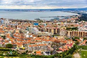View of Almada city near Lisbon - Portugal