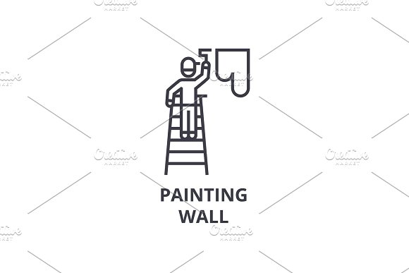 painting wall thin line icon, sign, symbol, illustation, linear concept, vector