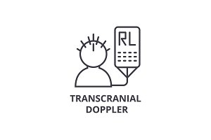 transcranial doppler thin line icon, sign, symbol, illustation, linear concept, vector