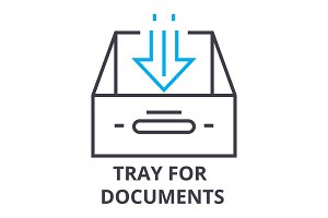 tray for documents thin line icon, sign, symbol, illustation, linear concept, vector