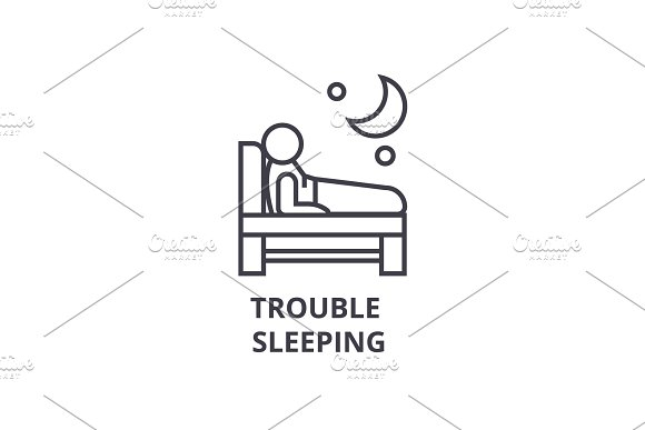 Trouble Sleeping Thin Line Icon Sign Symbol Illustation Linear Concept Vector