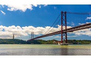 View of the 25 de Abril Bridge - Lisbon, Portugal