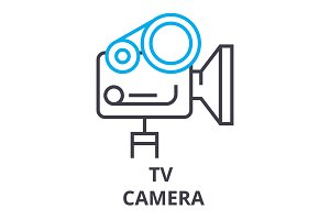 tv camera thin line icon, sign, symbol, illustation, linear concept, vector