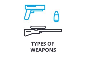 types of weapons thin line icon, sign, symbol, illustation, linear concept, vector