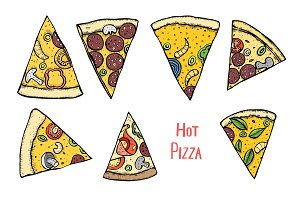 Italian Pizza hand drawn