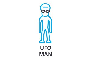 ufo man thin line icon, sign, symbol, illustation, linear concept, vector
