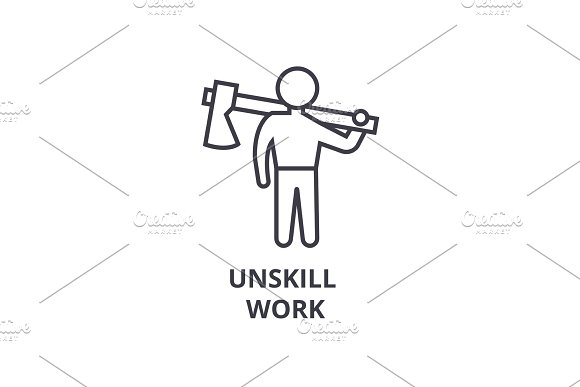 Unskill Work Thin Line Icon Sign Symbol Illustation Linear Concept Vector