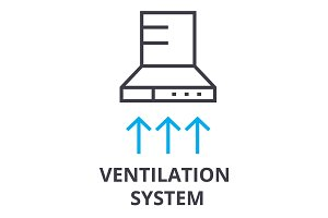 ventilation system thin line icon, sign, symbol, illustation, linear concept, vector