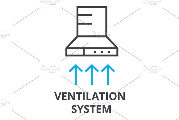 Ventilation System Thin Line Icon Sign Symbol Illustation Linear Concept Vector