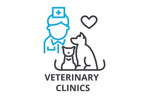 veterinary clinics thin line icon, sign, symbol, illustation, linear concept, vector