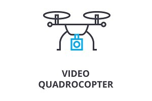 video quadrocopter thin line icon, sign, symbol, illustation, linear concept, vector