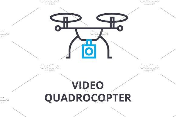 Video Quadrocopter Thin Line Icon Sign Symbol Illustation Linear Concept Vector
